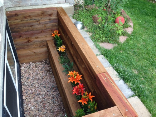 Wood Window Well with Flower Box